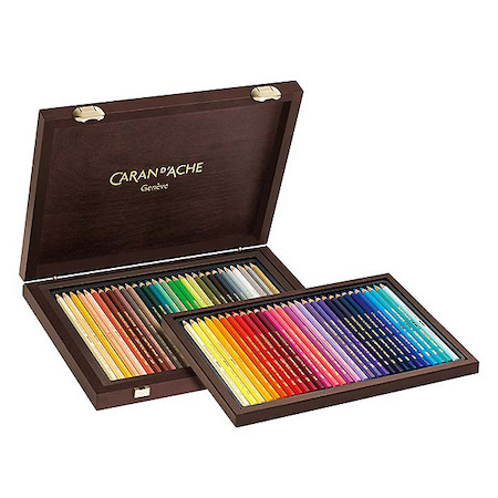 Caran d'Ache Supracolor Water Soluble Pencils 30th Anniversary Assorted Wooden Box of 60