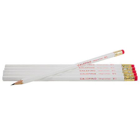 Calepino White Wooden Pencils Set of 6
