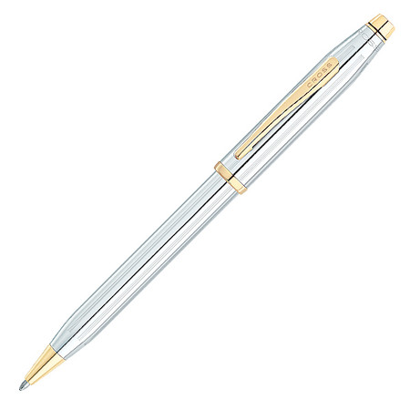 Cross Century II Ballpoint Pen Medalist Chrome with Gold Trim