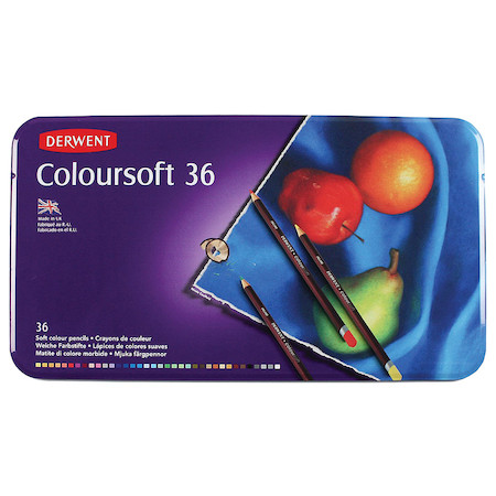 Derwent Coloursoft Coloured Pencil Tin of 36