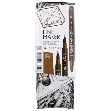 Derwent Line Maker Drawing Pen Sepia Set of 3