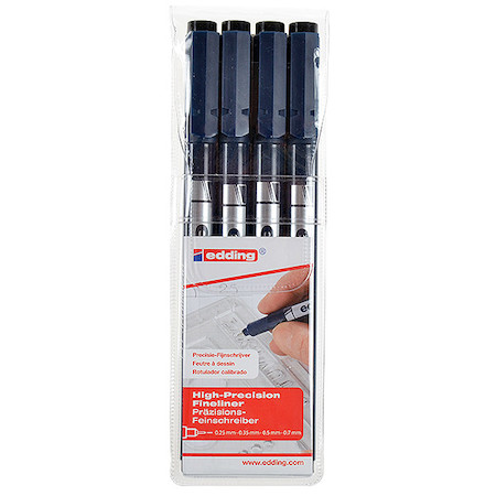 edding 1880 Drawliner Pen Set of 4 Assorted