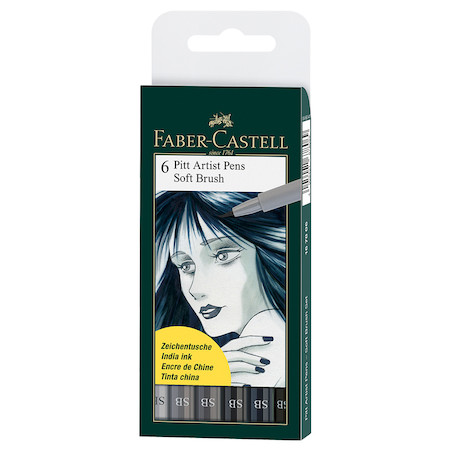 Faber-Castell Pitt Artist Pen Soft Brush Shades of Grey Set of 6