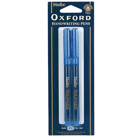 Helix Oxford Handwriting Pens Blue Twin Pack