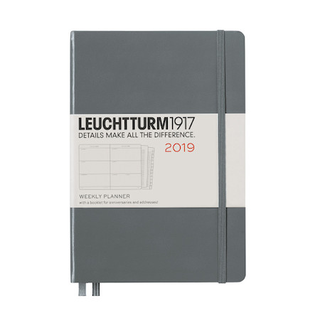 Leuchtturm1917 Diary Weekly Planner 2019 Medium Anthracite