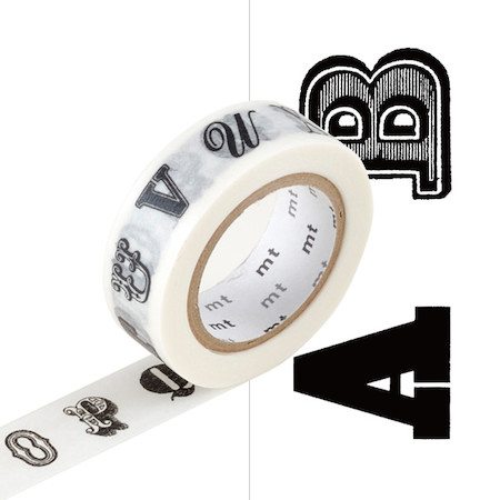 Mt washi masking tape ex 15mm x 10m alphabet black r for Low tack tape for crafting