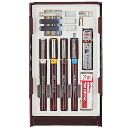 rotring rapidograph Technical Drawing Pen 4 Pen College Set