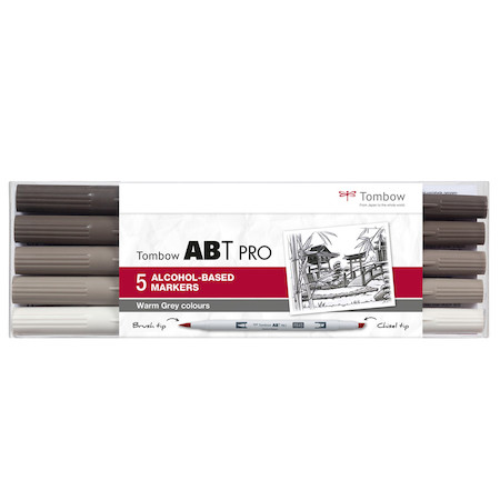 Tombow ABT PRO Dual Brush Pen Set of 5 Warm Grey