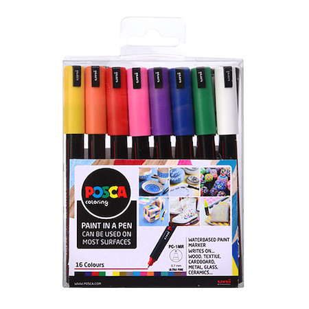 Uni POSCA Marker Pen PC-1MR Ultra-Fine Set of 16 Assorted
