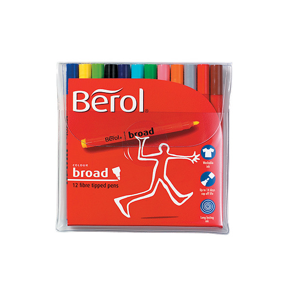 Berol Colourbroad Felt Pen Set of 12 Assorted