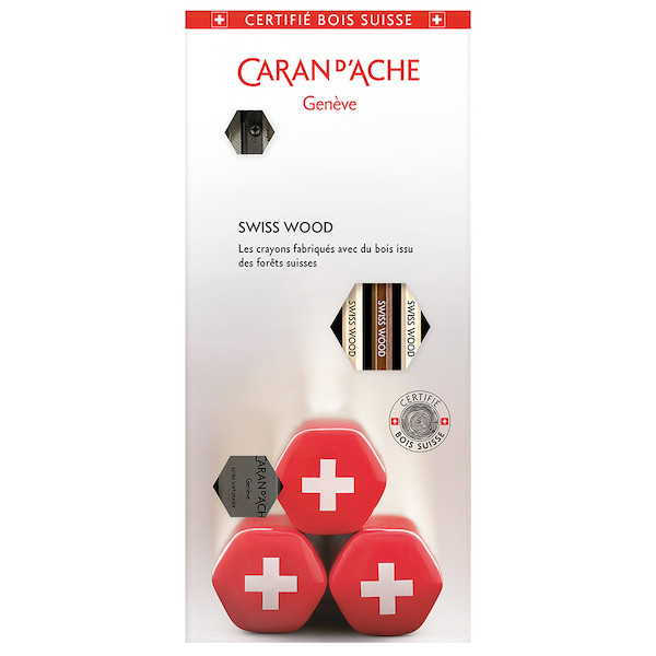 Caran d'Ache Swiss Wood 348 Gift Set with 3 Pencils