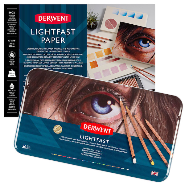 Derwent Lightfast Paper 12 x 16 and Tin of 36 Bundle