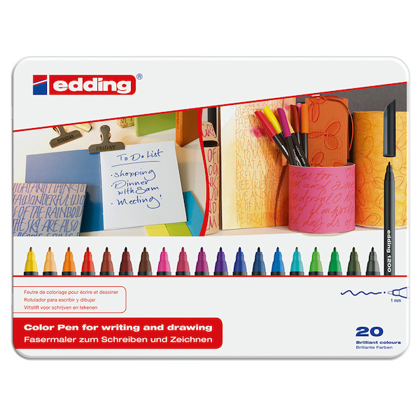 edding 1200 Colourpen Tin of 20 Assorted