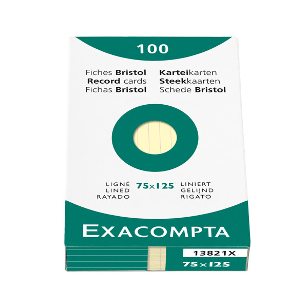 Exacompta Yellow 5 x 3 (125 x 75) Record Cards Pack of 100