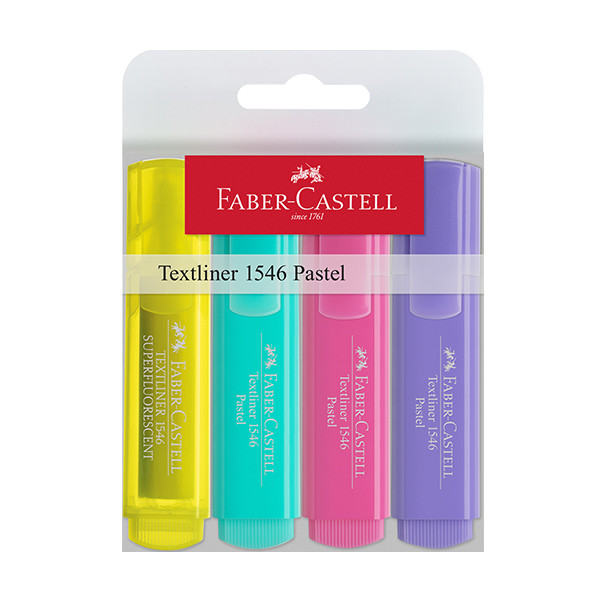 Faber-Castell Textliners 1546 Pastel Highlighter Wallet of 4