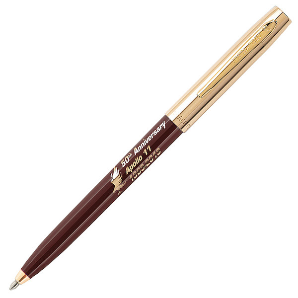 Fisher Space Pen Cap-O-Matic Apollo 11 50th Anniversary Pressurised Ballpoint Pen Maroon and Gold