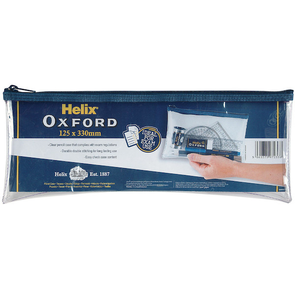 Helix Oxford Pencil Case Clear Large