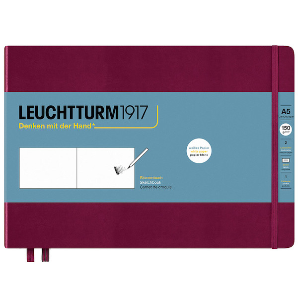 Leuchtturm1917 Sketchbook Medium Landscape Port Red