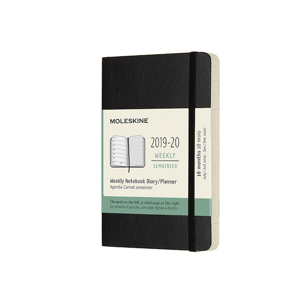 Moleskine Softcover Pocket Weekly 18 Month Diary 2019-20 Black