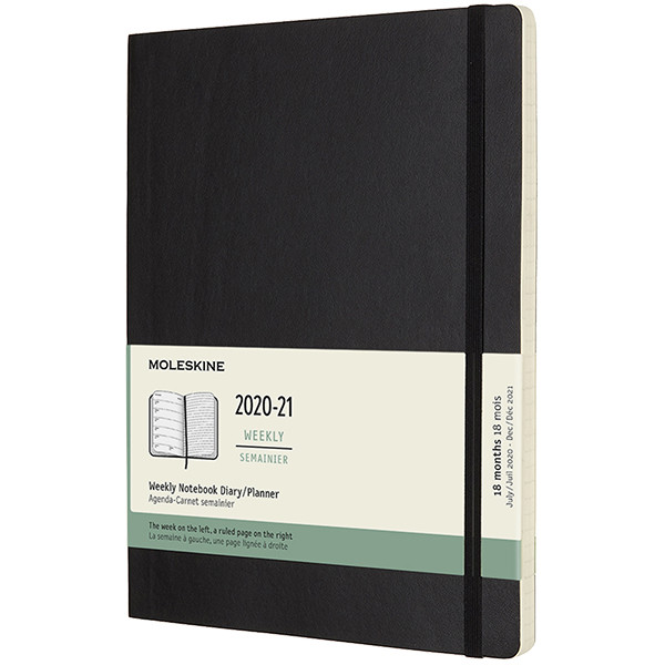 Moleskine Softcover Extra Large Weekly 18 month Diary 2020-2021 Black