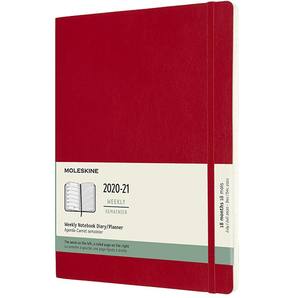 Moleskine Softcover Extra Large Weekly 18 month Diary 2020-2021 Scarlet Red