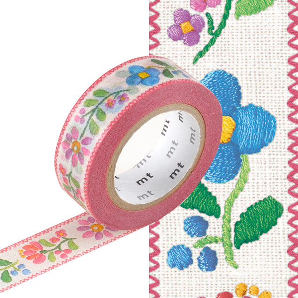 mt Washi Masking Tape EX - 15mm x 10m - Embroidery