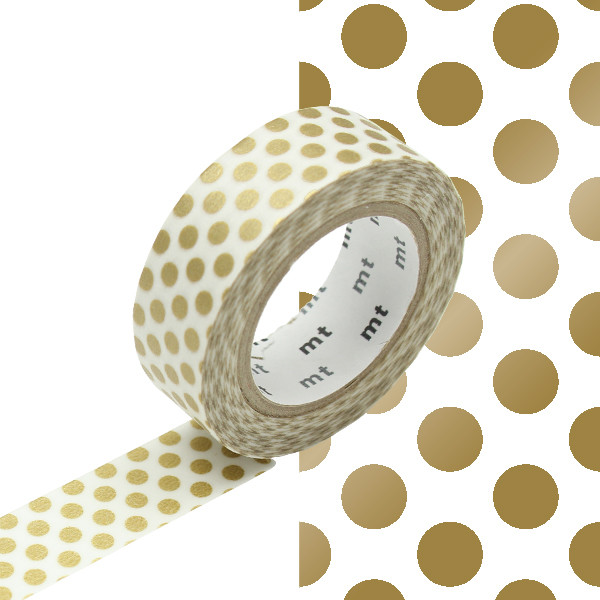 mt Washi Masking Tape 15mm x 10m Dot Gold 2