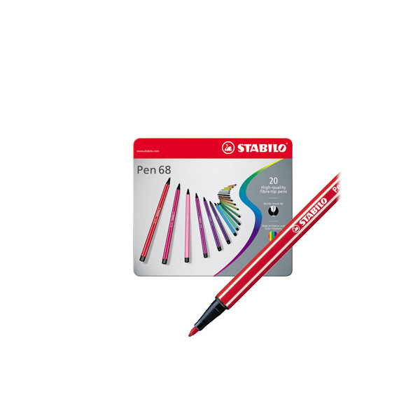 STABILO Pen 68 Metal box of 20 assorted colours