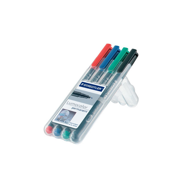 Staedtler Lumocolor Marker Pen Permanent Medium Wallet of 4