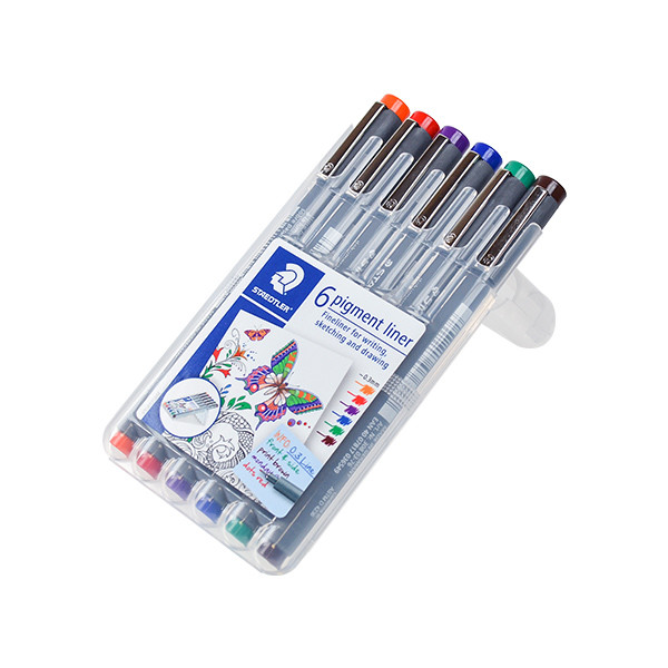 Staedtler 308 Coloured Pigment Liner 0.3 Assorted Deskset of 6 Set 1