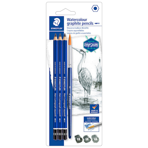 Staedtler Mars Lumograph Aquarell Watercolour Graphite Pencil Set of 3 + Brush