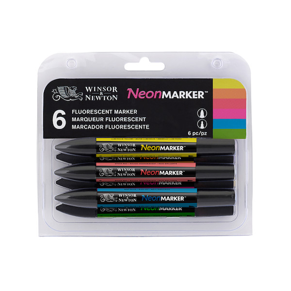 Winsor & Newton Markers Set of 6 Neon