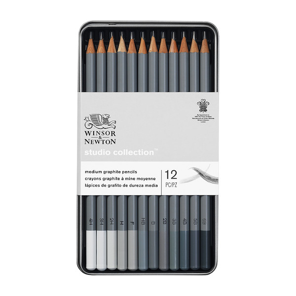 Winsor & Newton Studio Collection Graphite Pencils Assorted Tin of 12
