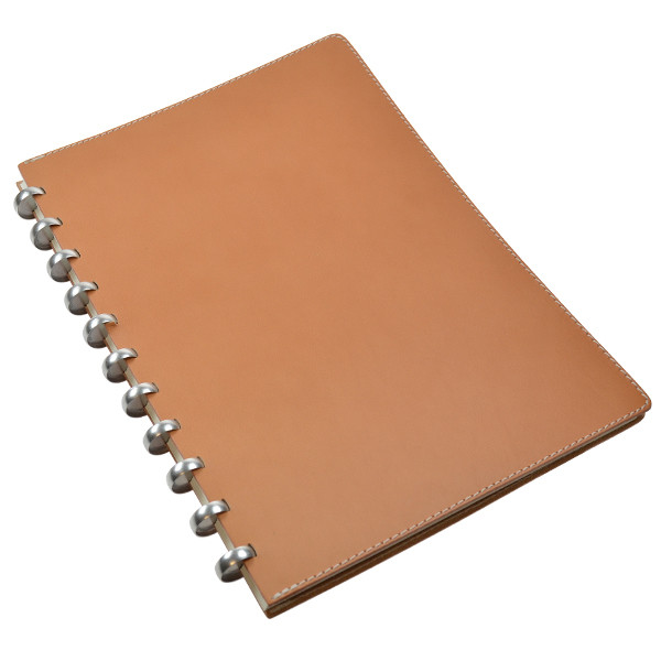 Atoma Pur Disc-Bound Refillable A4 Notebook Natural Leather