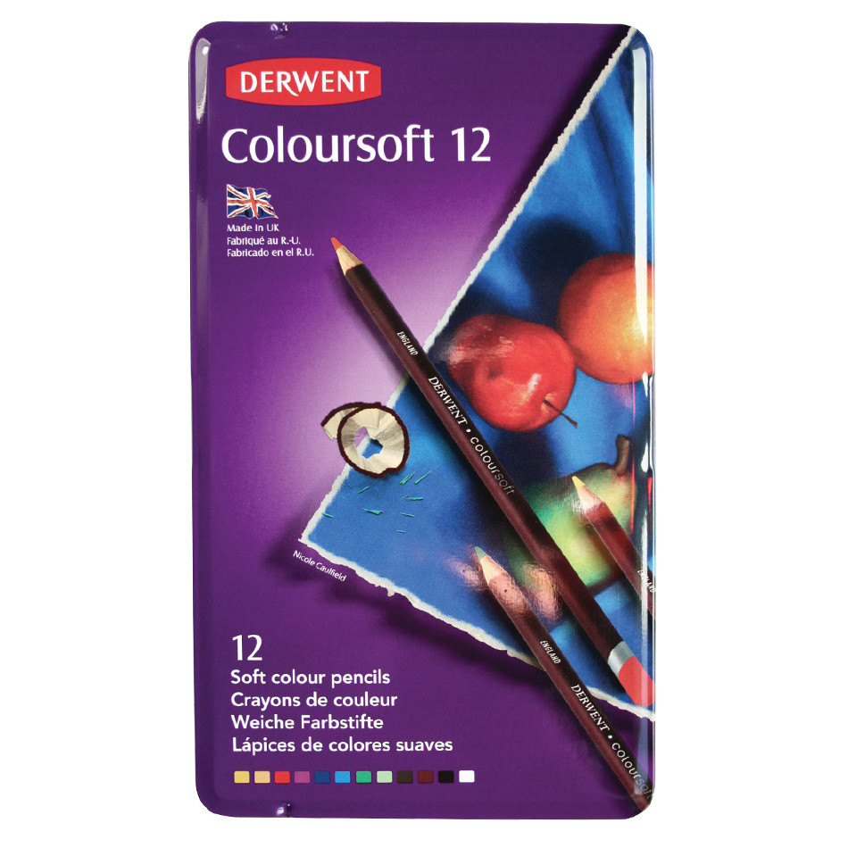 Derwent Coloursoft Coloured Pencil Tin of 12