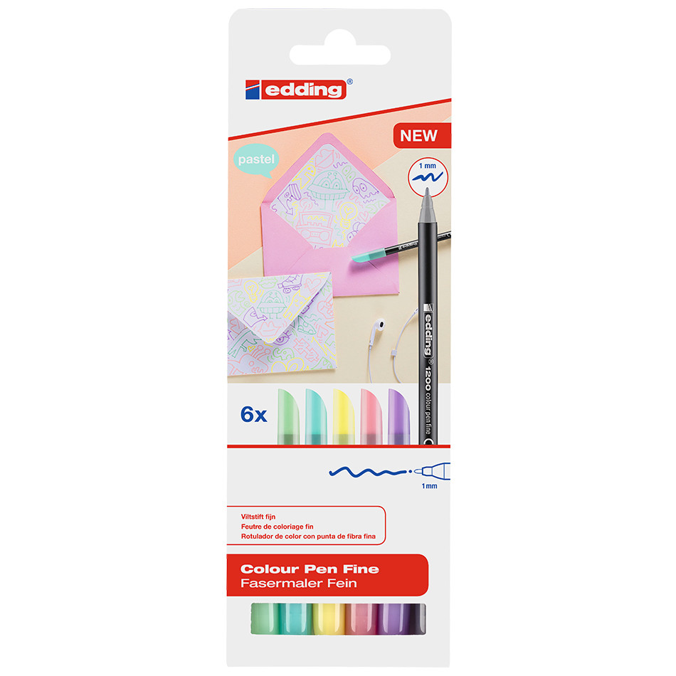 edding 1200 Colourpen Pastel Assorted Set of 6