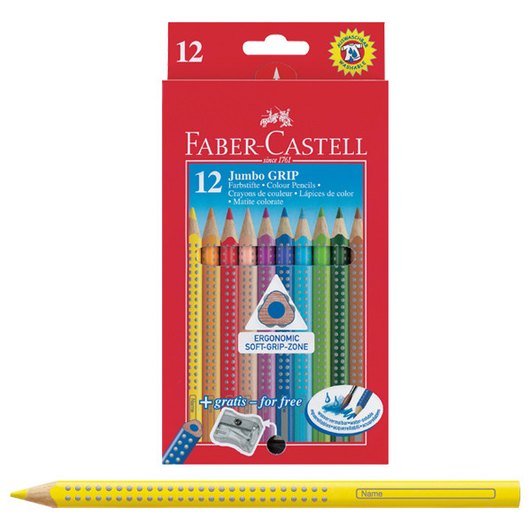 Faber-Castell Jumbo Grip Colour Pencils Pack 12 with Sharpener ...