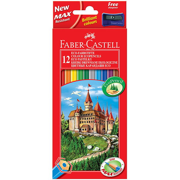Faber-Castell Eco Colouring Pencils Box of 12 + Free Sharpener ...