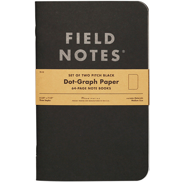 Field Notes Pitch Black Note Book Set Of   Cult Pens