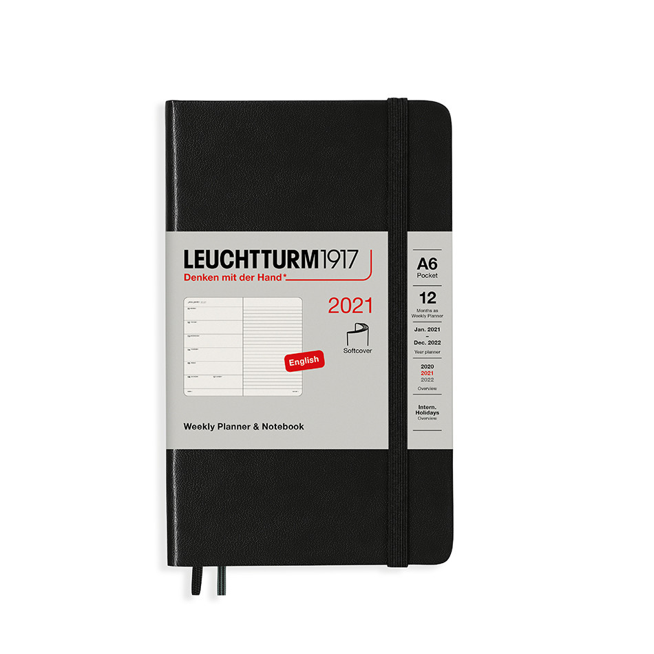 Leuchtturm1917 Weekly Planner & Notebook 2021 Softcover Pocket Black