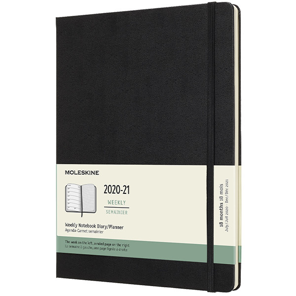 Moleskine Hardcover Extra Large Weekly 18 Month Diary 2020-2021 Black