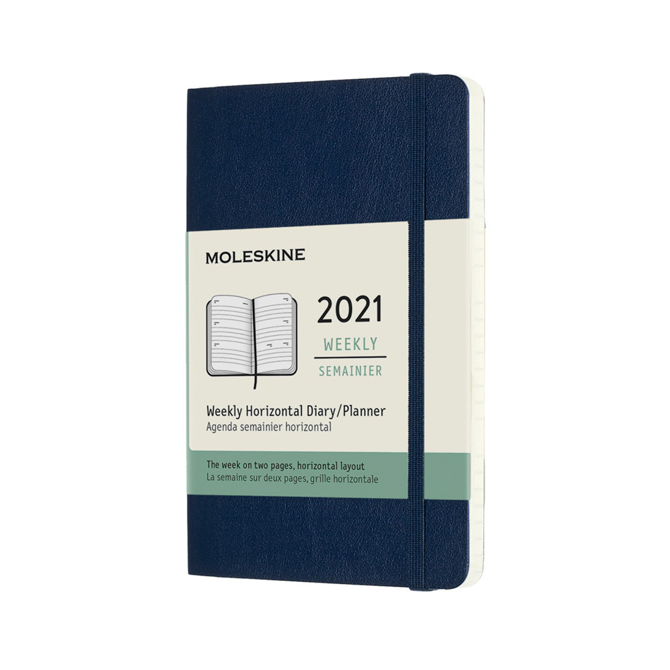 Moleskine Weekly Diary 2021 Softcover Horizontal Pocket Sapphire Blue