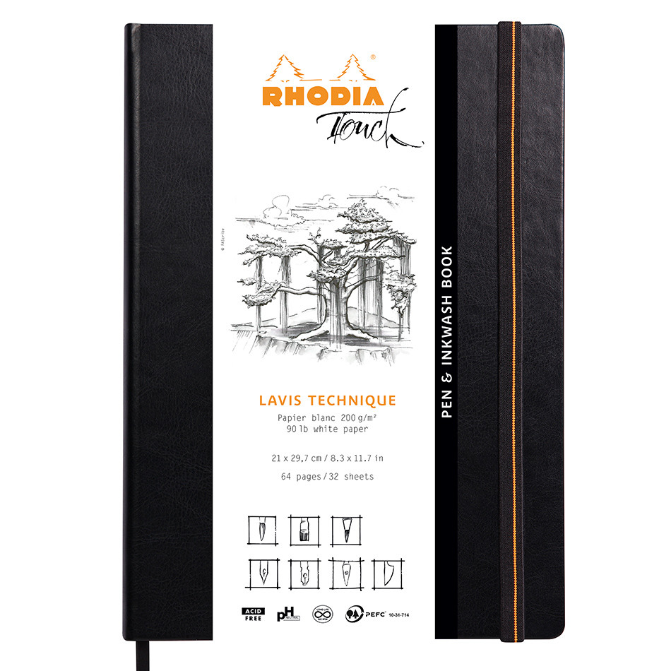 Rhodia Touch Pen & Inkwash Book Hardcover A4