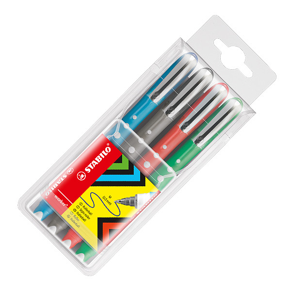 STABILO Worker Colorful Rollerball Pen Assorted Set of 4