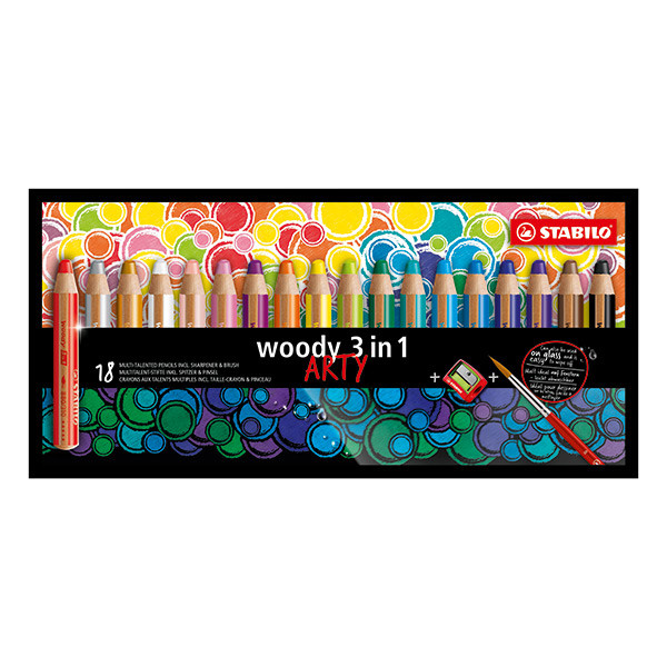 STABILO ARTY Woody 3 in 1 Pencil Wallet of 18