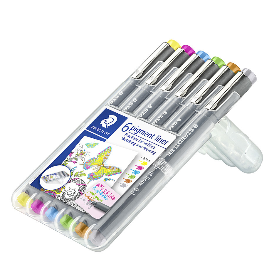 Staedtler 308 Coloured Pigment Liner 0.3 Assorted Deskset of 6 Set 2