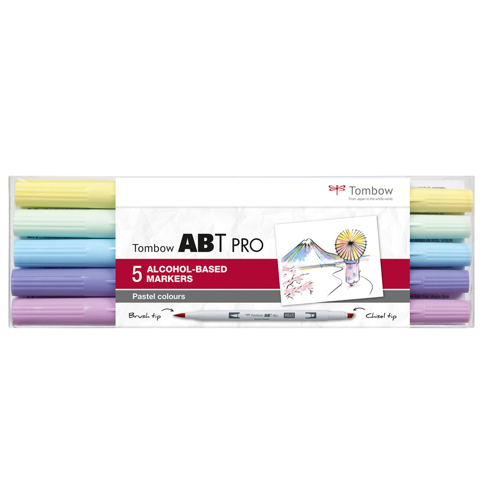 Tombow ABT PRO Dual Brush Pen Set of 5 Pastel