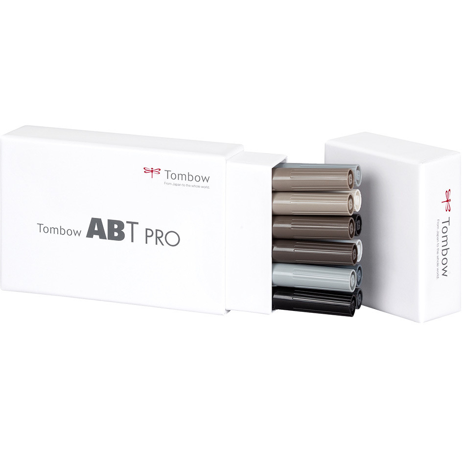 Tombow ABT PRO Dual Brush Pen Set of 12 Grey Tones