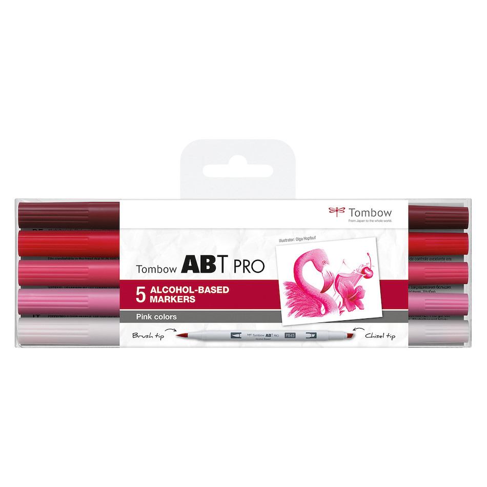 Tombow ABT PRO Dual Brush Pen Set of 5 Pink Colours