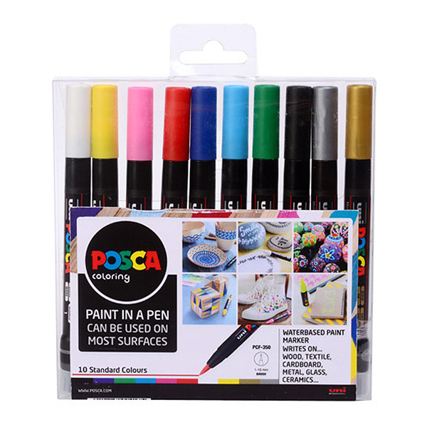 Uni POSCA Marker Pen PCF-350 Brush Set of 10 Assorted | Cult Pens